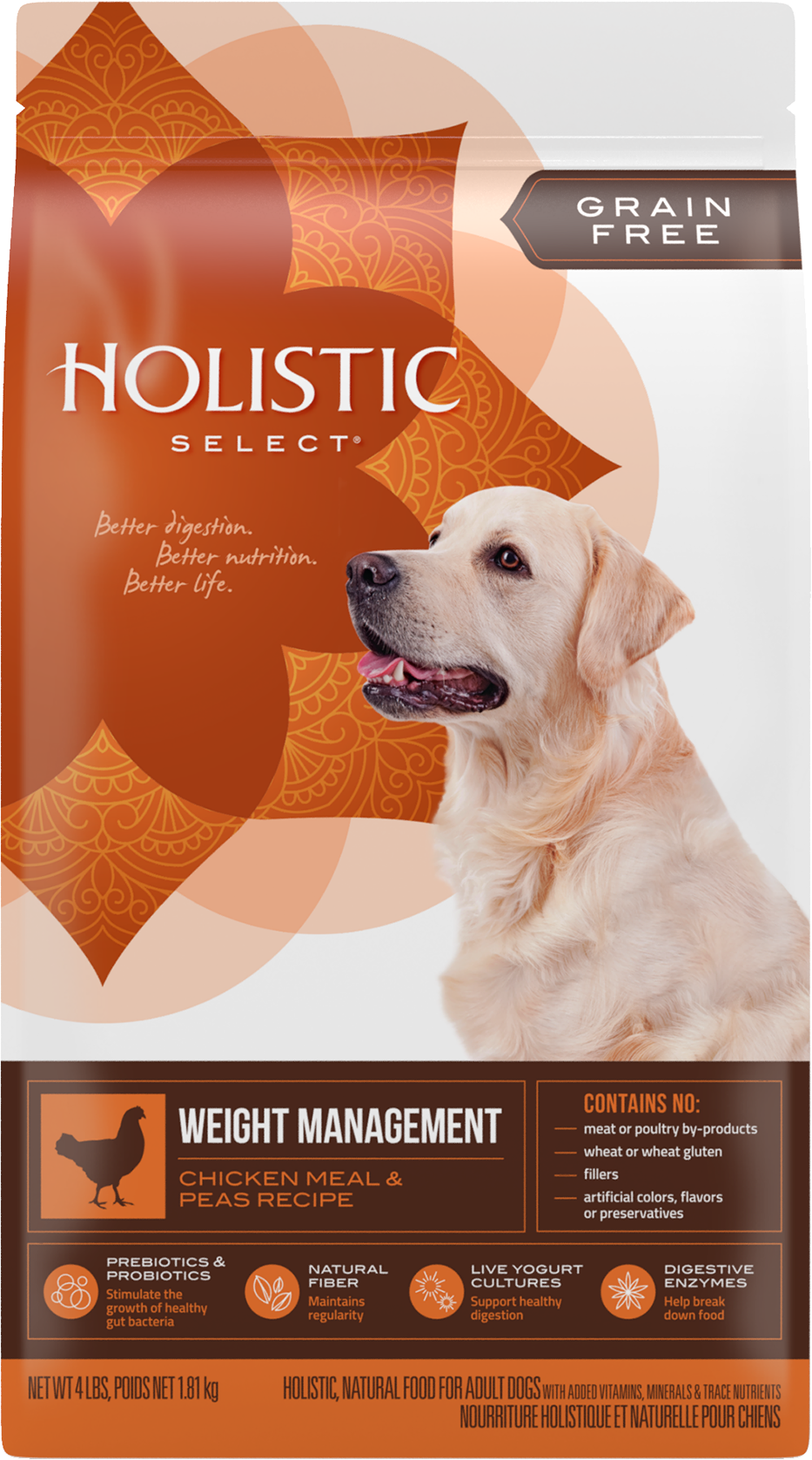Holistic Select Grain Free Weight Management Chicken Meal & Peas